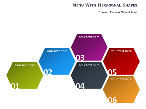 menu for powerpoint with hexagonal shapes, Modern powerpoint