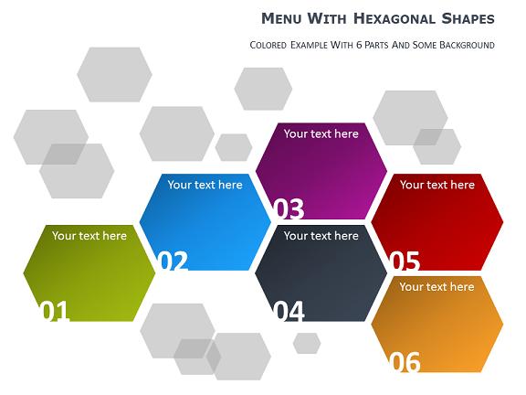 Menu Pour Powerpoint Avec Formes Hexagonales