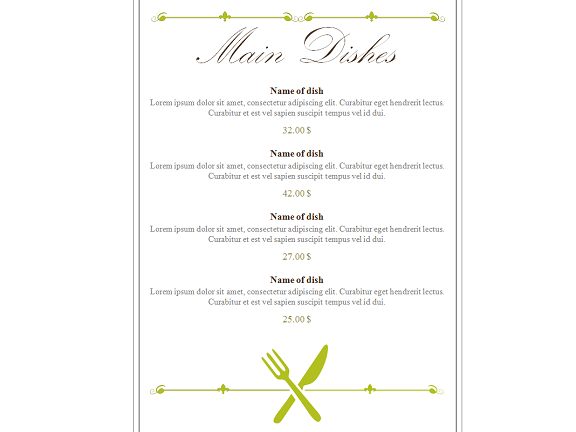 Souvent Restaurant Menu PowerPoint Template MF95