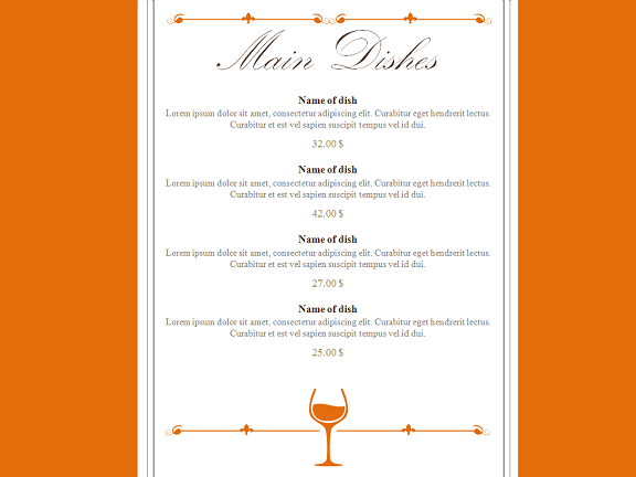 restaurant menu powerpoint template, Powerpoint