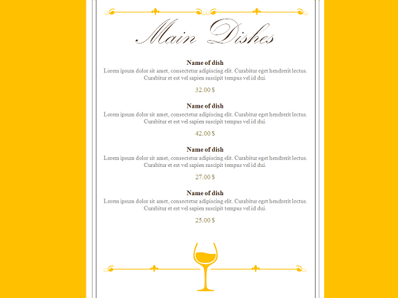 restaurant menu powerpoint template, Modern powerpoint