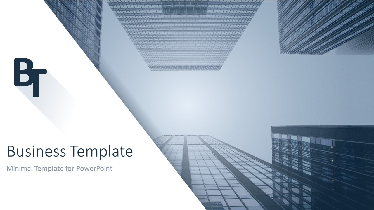 minimalist business powerpoint template building slide 1