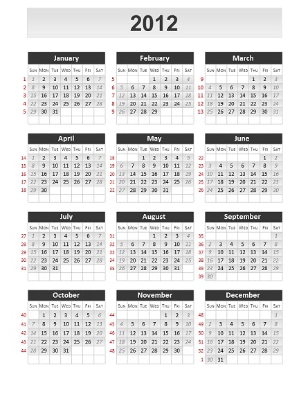 Free Simple Calendar 2012 for PowerPoint