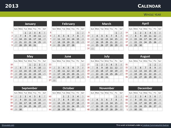 Calendar 2013 for powerpoint full pack calendars 2013 templates for powerpoint slide01 toneelgroepblik Choice Image