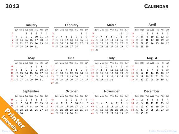 calendar 2013 for powerpoint