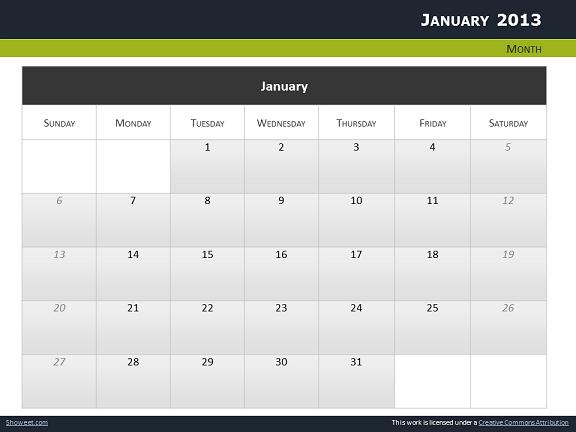 Calendar 2013 For Powerpoint - Full Pack