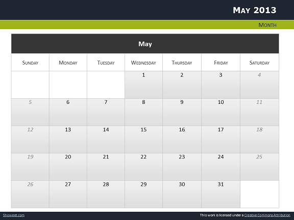 calendar 2013 for powerpoint