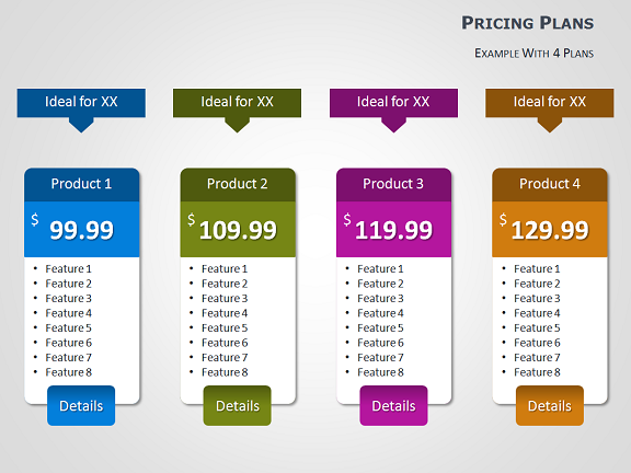 Pricing tables for powerpoint for Table design presentation