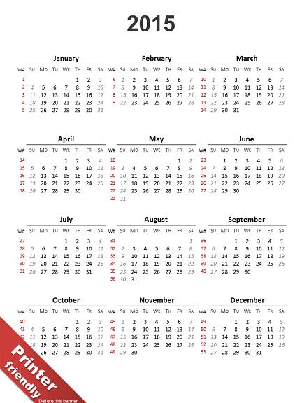 powerpoint calendar 2015