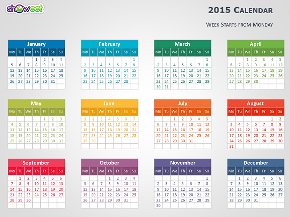 colorful 2015 calendar for powerpoint