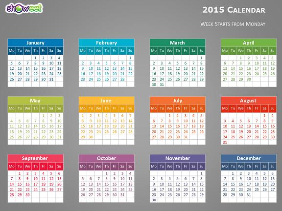 Calendar Monthly Basis : Calendrier coloré pour powerpoint