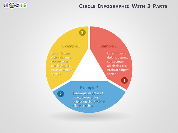 Infographic Ideas 3d paper infographic powerpoint template free download : Circle Infographic with 3 Parts for PowerPoint
