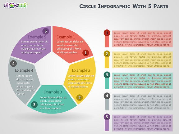 Circle Infographic with 5 Parts for PowerPoint