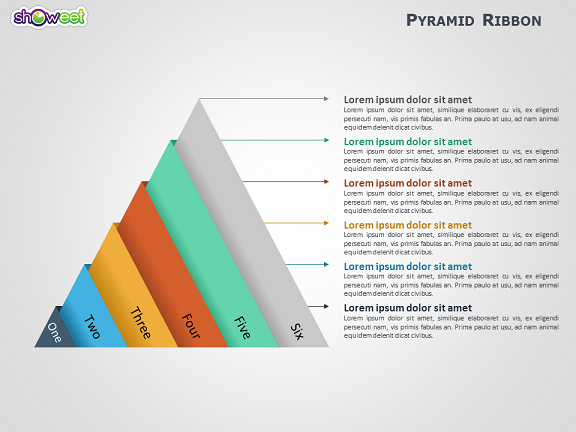 ribbon pyramid diagrams for powerpoint
