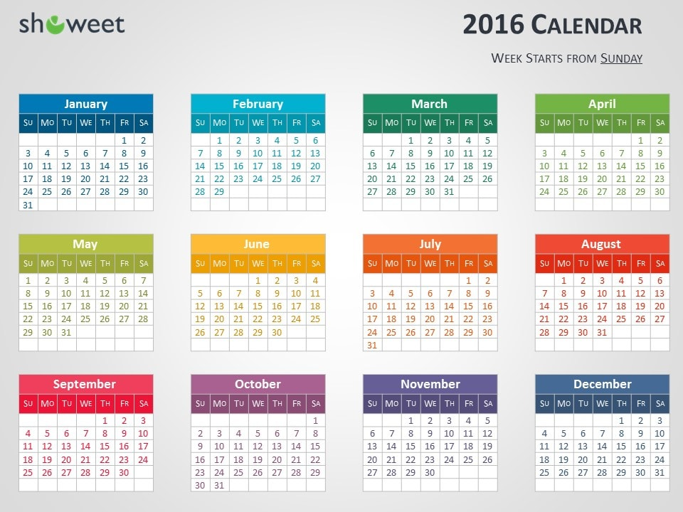 Colorful 2016 Calendar For Powerpoint