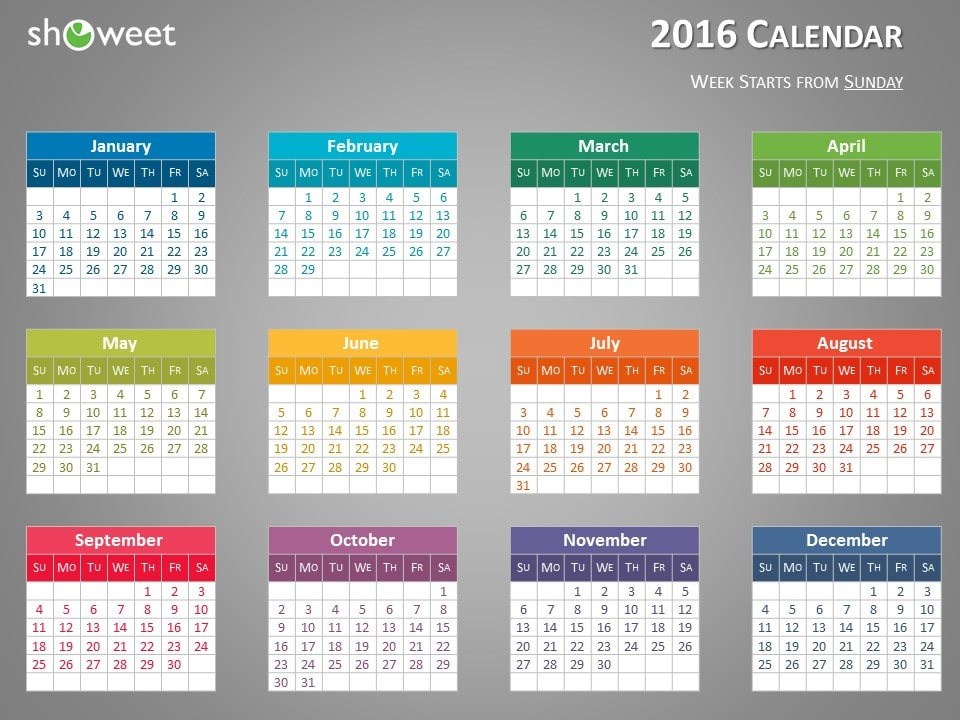 Colorful  Calendar For Powerpoint