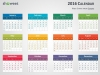 Colorful 2016 Calendar for PowerPoint - Week Starts from Sunday - Light background