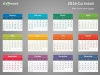 Colorful 2016 Calendar for PowerPoint - Week Starts from Sunday - Dark background