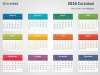 Colorful 2016 Calendar for PowerPoint - Week Starts from Monday - Light background