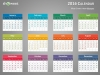 Colorful 2016 Calendar for PowerPoint - Week Starts from Monday - Dark background