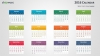 Colorful 2016 Calendar for PowerPoint - Week Starts from Sunday - Light background (Widescreen)