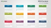 Colorful 2016 Calendar for PowerPoint - Week Starts from Monday - Light background (Widescreen)