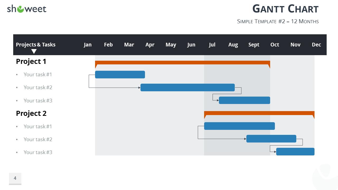 Gantt chart template for PowerPoint - 12 Months (Widescreen)
