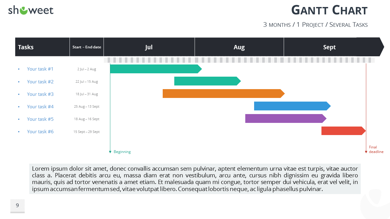 Gantt Charts And Project Timelines For PowerPoint - Gantt timeline template