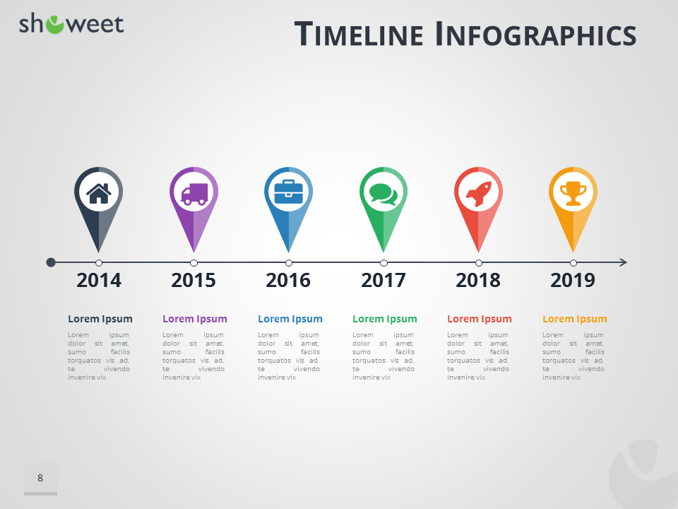 Timeline infographics templates for powerpoint timeline infographics for powerpoint using map location pins toneelgroepblik Choice Image
