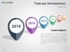 Timeline Infographics for PowerPoint using map location pins and perspective