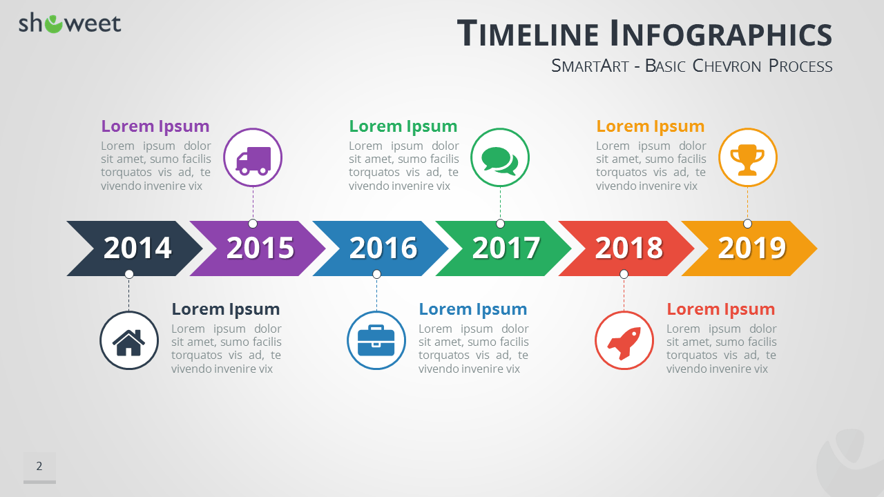 Timeline Infographics For PowerPoint Using SmartArt Graphics