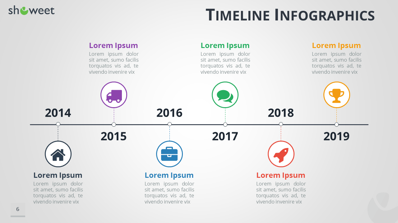 Great Timeline Infographics For PowerPoint   Widescreen Size