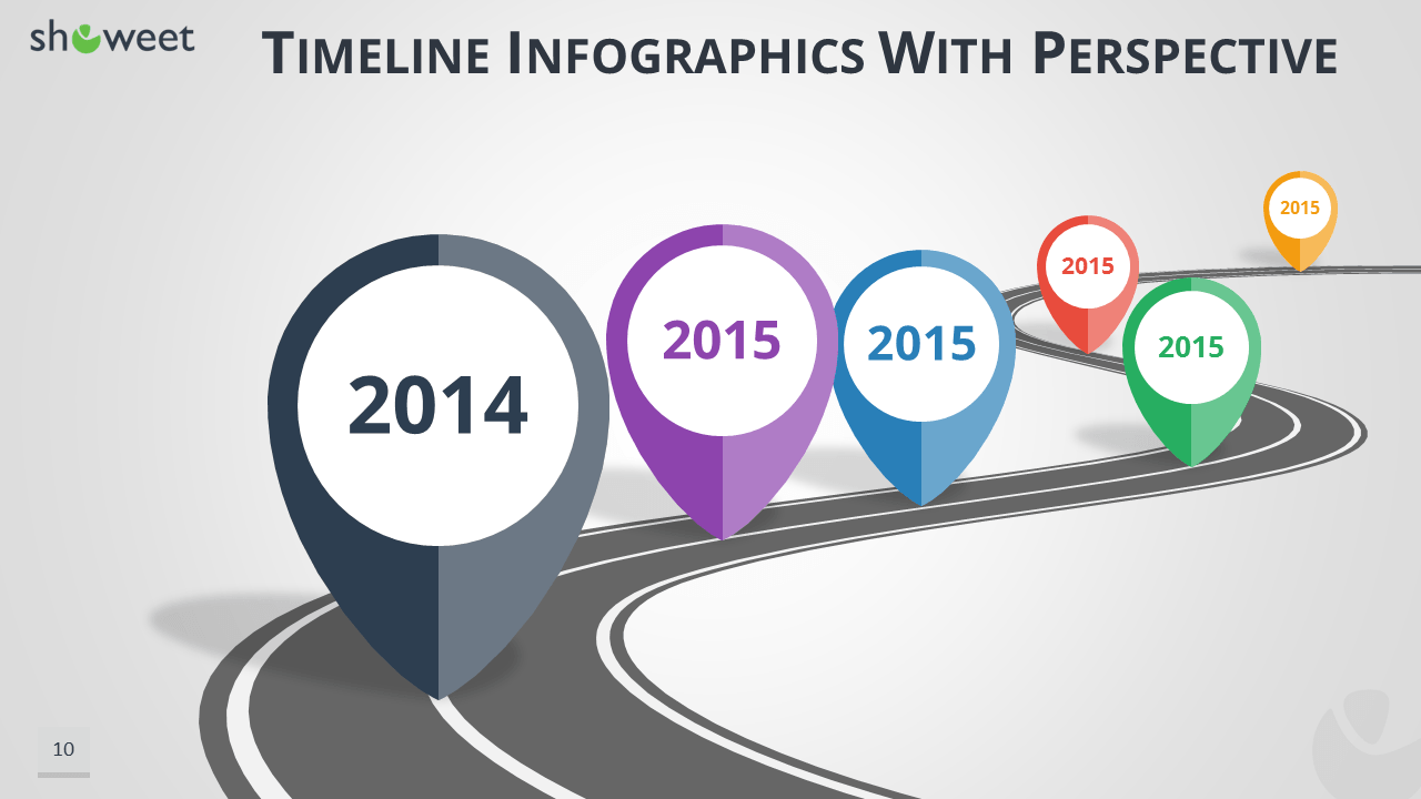 Timeline Infographics For PowerPoint With Map Location Pins And Road Graphics