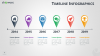 Timeline Infographics for PowerPoint with map location pins - widescreen size