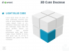 3D Cube Diagram for PowerPoint and Keynote - Light Blue Cube