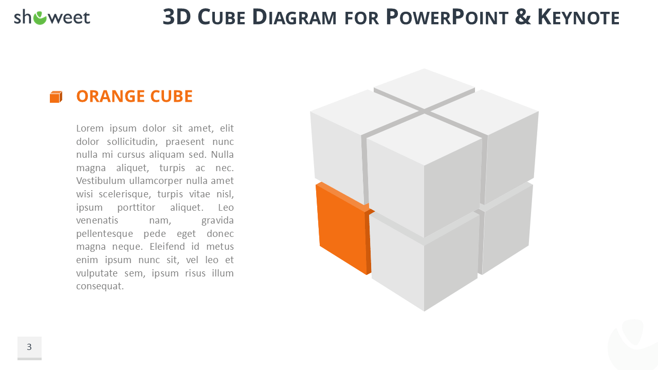 3d Cube Diagram For Powerpoint And Keynote Origami Diagrams Free Download Orange Widescreen