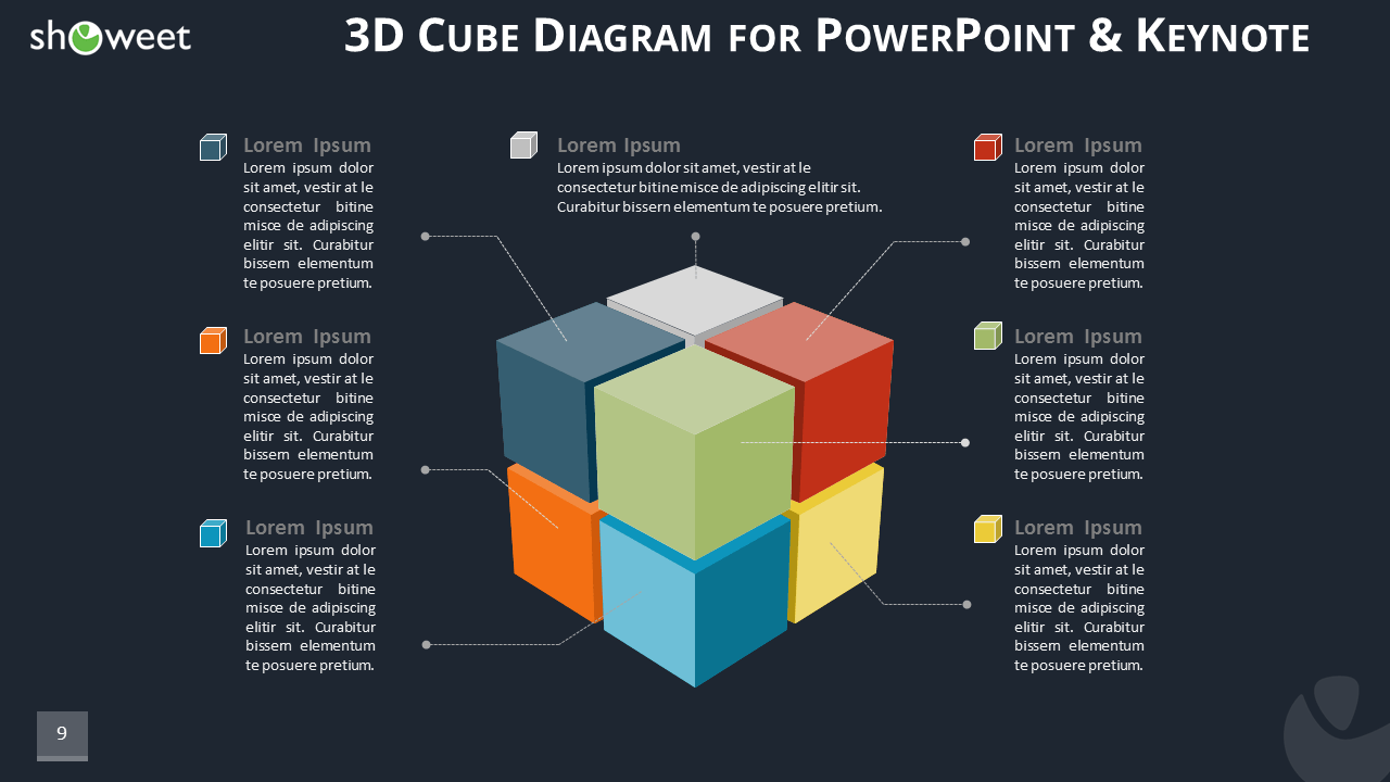 3d cube diagram for powerpoint and keynote 3d cube diagram infographics for powerpoint and keynote dark layout widescreen ccuart Choice Image