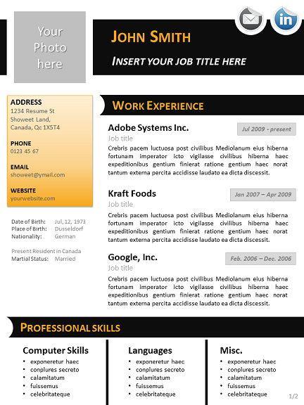 black n orange curriculum vitae template for powerpoint