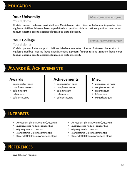 black yellow cv template for powerpoint slide2
