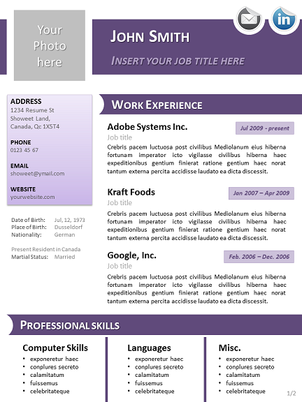 purple curriculum vitae template for powerpoint, Modern powerpoint