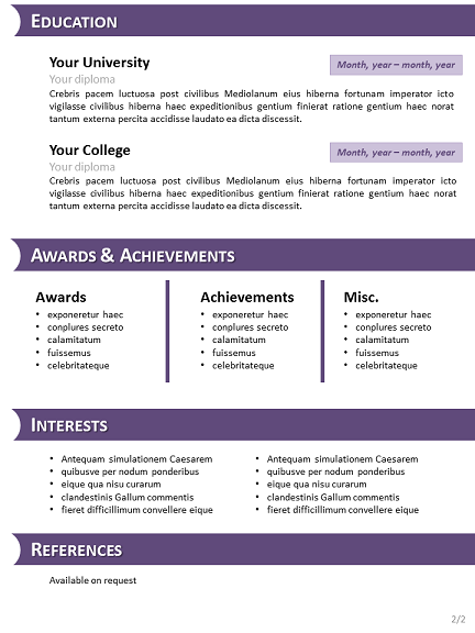 purple cv template for powerpoint slide2