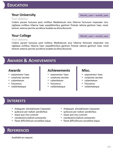mod u00e8le violet de curriculum vitae pour powerpoint