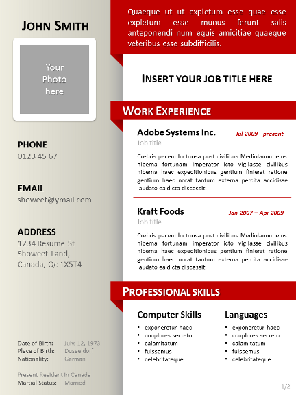 Cv Templates Ppt - Cv Template Ppt