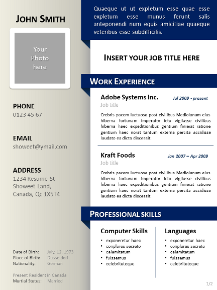 clean resume cv template for powerpoint