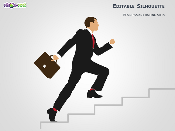 Businessman Climbing Steps Silhouette For Powerpoint