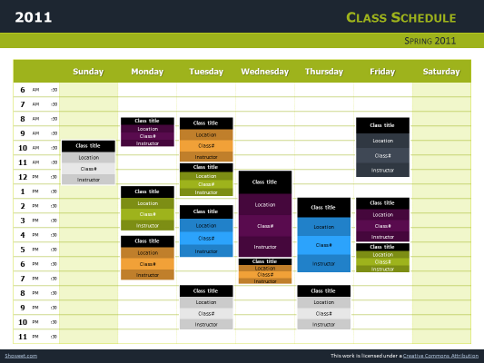 Class schedule free charts for powerpoint and impress - Open office impress telecharger gratuit ...