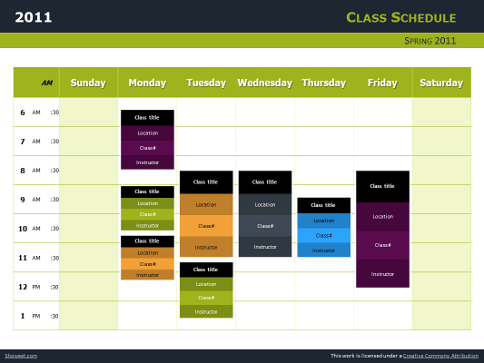 Class Schedule Free Charts for PowerPoint and Impress – Class Schedule Template