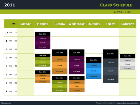 Class Schedule Free Charts for PowerPoint and Impress – Classroom Agenda Template