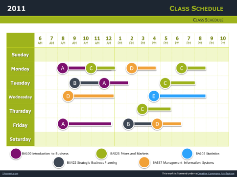 Class Schedule Free Charts For Powerpoint And Impress
