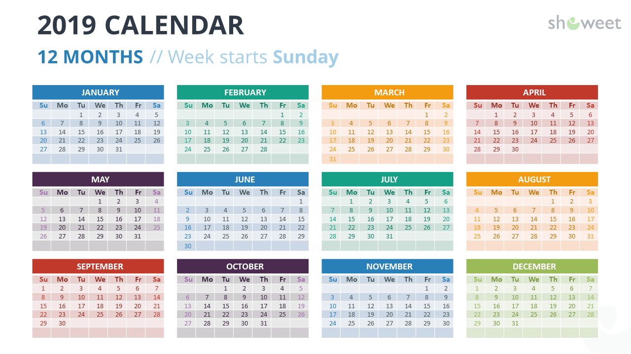 example of powerpoint slide with 12 months year calendar 2019 powerpoint template